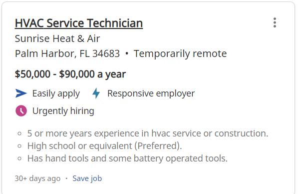 HVAC Technician in Tampa